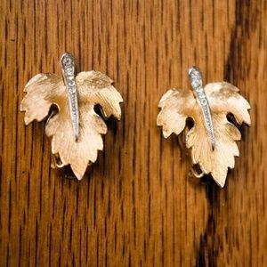 Vintage Park Lane Autumn Leaf Clip Earrings